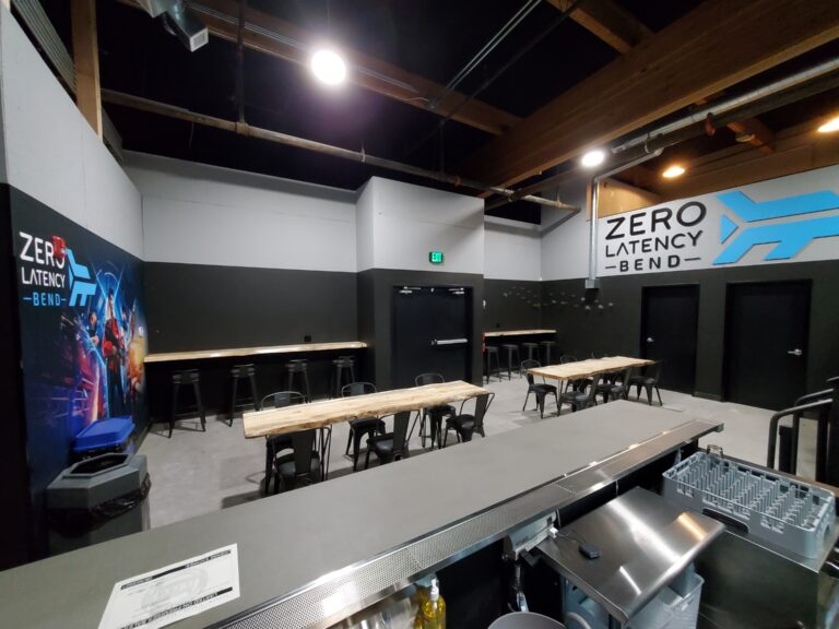 Zero Latency Bend event space with bar, beers on tap, and wine.